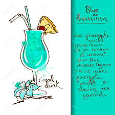 cocktail illustration drawn cocktail blue hawaiian pencil and in color drawn cocktail