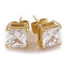 18k gold stainless steel square stud earrings niv s bling
