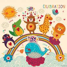 kids animals birthday greetings card design 5