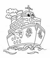 cartoon big ship coloring page for kids transportation coloring