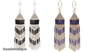 make dangle earrings how to make brick stitch and fringe beaded earrings