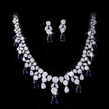 original diamond drop gorgeous jewellery sparkling blue rhinestones women 18k white