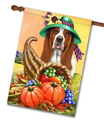 Monogram House Flags Basset Hound Autumn Pet Flags Flagology Com