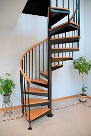 spiral staircase wooden steps stainless steel frame without risers s 01a