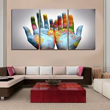Wall Art Paintings For Living Room 3pcs Set Modern Abstract Wall Art Painting Palm World Map In Hand