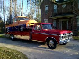86 Ford F350 Dump Truck - nice 1977 f350 custom flatbed dump with saddle tool box for sale