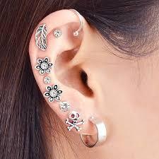 in earrings 2018 alloy ear cuff and floral stud earring set silver in earrings
