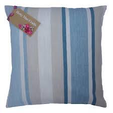 Blue Awning Laura Ashley Awning Stripe Seaspray Fabric Blue Cushion Cover In