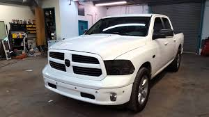 blacked out dodge truck dodge ram vinyl wrap bumpers grill and door handles black out