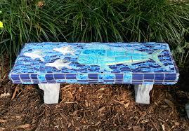 making a mosaic garden bench mosaic garden furniture fish art