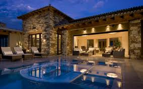 great details of Modern Mediterranean House with stone wall theme