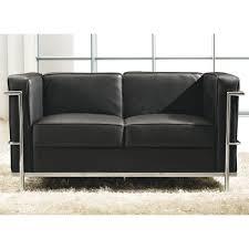 canapé cuir noir 2 places canapé 2 places cuir noir inox moderne design corbs univers du salon