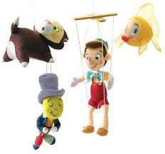 set of 4 felt ornaments from pinocchio from our