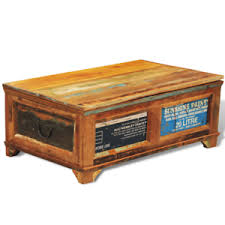 large solid wooden chest trunk storage box coffee table vintage