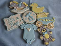 baby boy shower cookies yellow gray blue amp white rocking horse