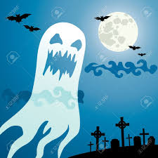 cartoon halloween background 1 134 ghost on a blue background cliparts stock vector and