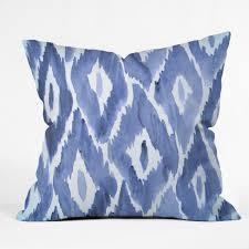 natalie baca painterly ikat in indigo throw pillow deny designs