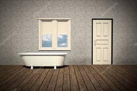 retro badezimmer badezimmer mit holz dielenboden stockfoto 13390660