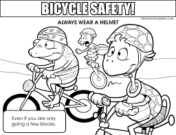 colouring page elementary safety 4 wheeler safety
