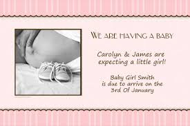 announcement cards pregnancy announcement photo cards with pink scalloped stripes