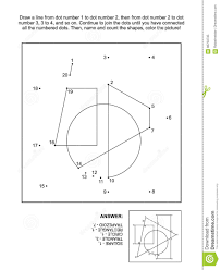 dot to dot and coloring page with basic geometrical shapes stock