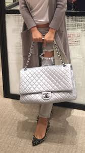 travel chanel images Chanel xxl flap travel bag silver 5200 luxe love pinterest jpg