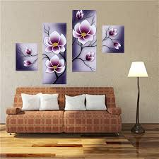home decoration painting 4pcs purple flower combination painting printed on canvas frameless