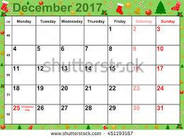 calendar 2017 months december holidays us stock illustration