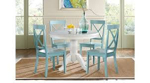 5 pc round pedestal dining table white 5 pc pedestal dining set blue chairs round rustic