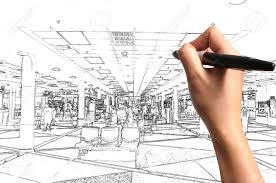 architect plan male hand drawing building and interior design as architect plan