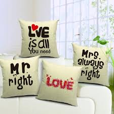 Cool Sofa Pillows by New 2016 Mr Mrs Couple Love Cotton Blended Soft Fabric Pillow