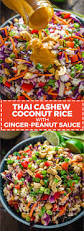thai cashew coconut rice with ginger peanut sauce recipe