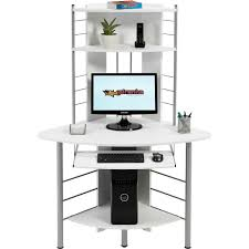 corner computer desk with hutch piranha white compact corner computer desk with 3 shelves for home