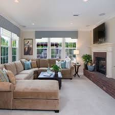 Neutral Living Room With Taupe Sectional Design Ideas Pictures - Family room sofas ideas