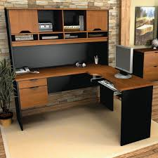 L Shape Office Desk by Corner L Shaped Office Desk With Hutch Black And Cherry Black Open