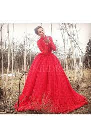shop discount red long sleeve high neck lace big ball gown prom