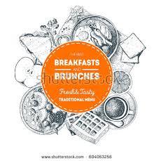 breakfasts brunches label food menu design stock vector 728504662