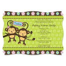 monkey invitations baby shower twin boy baby shower invitations u2013 gangcraft net