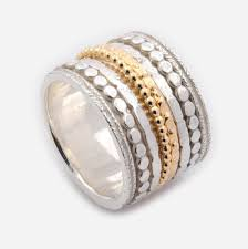 worry ring silver and gold mix spinner ring 16mm wide spinner