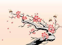 cherry blossom with bees jpg