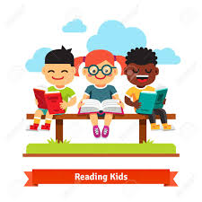 kids reading bench three smiling kids sitting on the bench and reading books flat