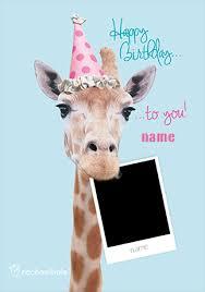 giraffe photo happy birthday card rachael hale funky pigeon