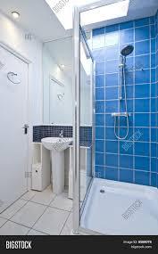 Blue Bathroom Designs Attractive Bright Modern Luxury Bathroom Blue Interior No Brandnames Or Copyright