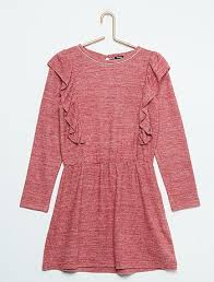 marl knit frilly jumper dress girls age 4 to 12 years gris chiné