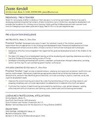 First Resume Examples by Excellent Resume Of A Preschool Teacher 89 In Easy Resume With