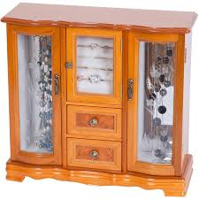 mele designs lyra glass door jewelry box burlwood oak finish