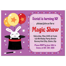 rabbit in magician u0027s hat magic show birthday party invitations