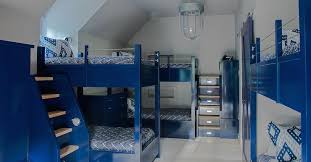Bunk Bed With Dresser Glossy Blue Lacquered Bunk Beds With Built In Steps Cottage