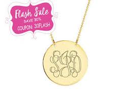 Monogram Disc Necklace Monogram Disc