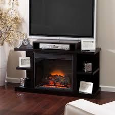 Electric Fireplace Media Center Furniture Dark Brown Stained Wooden Electric Fireplace Media